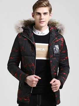 Ericdress Camouflage Fur Collar Vogue Warm Men's Coat