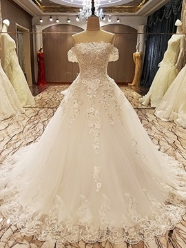 Ericdress Gorgeous Appliques Beaded Off The Shoulder Ball Gown Wedding Dress