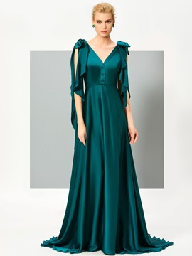Ericdress Stylish V Neck Deep Back Bowknot Shoulder A Line Evening Dress