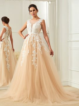 Ericdress Amazing Scoop Appliques A Line Color Wedding Dress