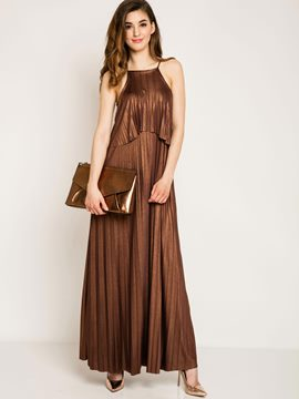 Ericdress Solid Color Spaghetti Strap Pleated Maxi Dress