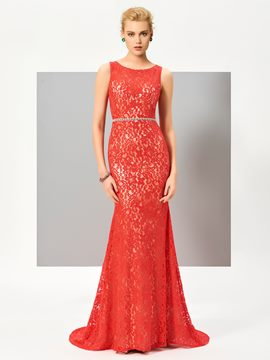Ericdress Mermaid Crystal Beaded Waistline Floor Length Lace Evening Dress