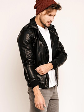Ericdress Lapel Side Zipper Men's PU Jacket