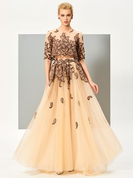 Ericdress Stylish Two Pieces A Line Half Sleeve Embroidery Evening Dress