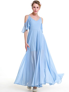 Ericdress Off-the-Shoulder Short Sleeve Expansion Maxi Dress