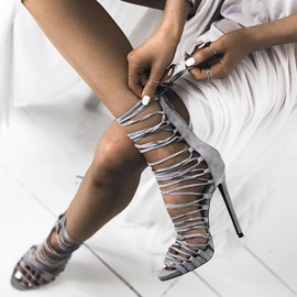 Ericdress Gray Lace Up Stiletto Sandals