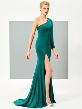 Ericdress Stylish One Shoulder Beaded Side Slit Floor Length Mermaid Evening Dress