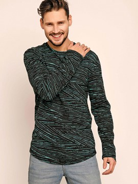Ericdress Round Neck Geometric Pattern Long Sleeve Men's T-Shirt