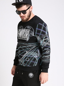 Ericdress Plus Size Unique Print Crew Neck Men's Hoodie
