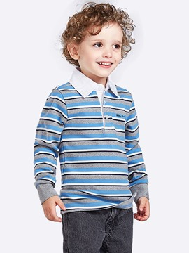 Ericdress Stripe Turn-down Collar Long Sleeve Boys T-Shirt