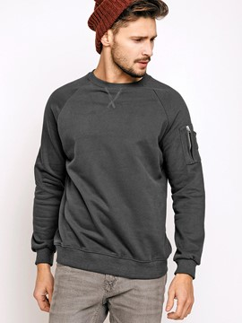 Ericdress Sleeve Pocket Round Neck Pullover Vogue Men's Hoodie