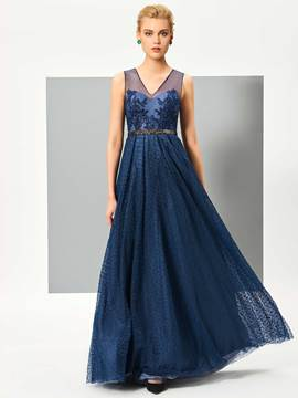 Ericdress A Line V Neck Applique Beaded Wastline Lace Evening Dress