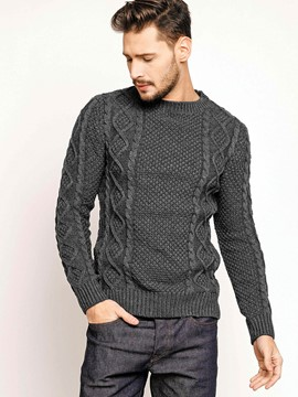 Ericdress Plain Crew Neck Jacquard Weave Men's Sweater