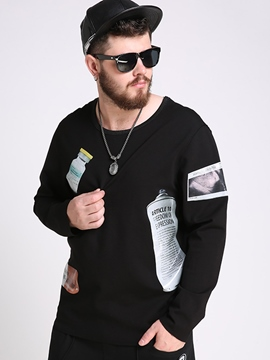 Ericdress Plus Size Vogue Print Crew Neck Men's Hoodie