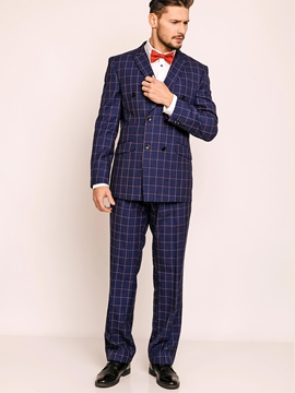 Ericdress Plaid Double-Breasted Men's Suit