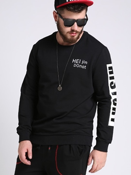 Ericdress Round Neck Pullover Plus Size Print Men's Hoodie