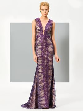 Ericdress Luxurious Sheath V Neck Sleeveless Lace Evening Dress