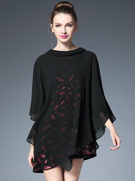 Ericdress Double Layer Batwing Sleeve Blouse