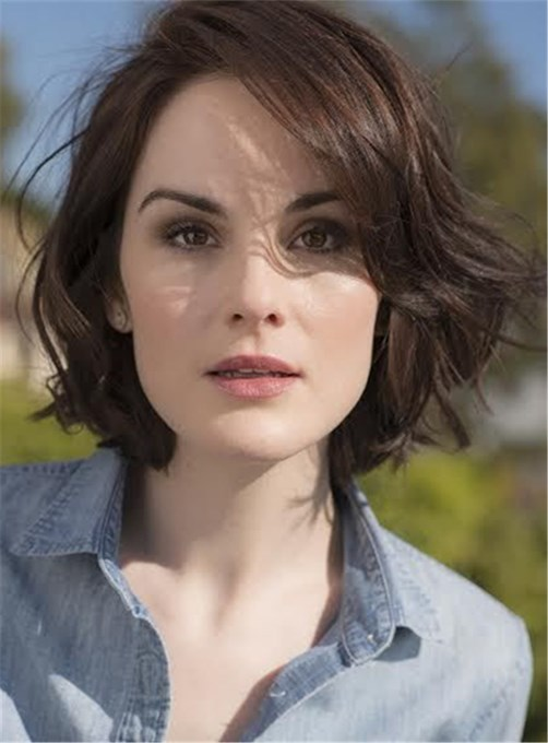 Ericdress Short Wavy Side Swept Lob Hairstyle Lace Front Human Hair Wig 12 Inches