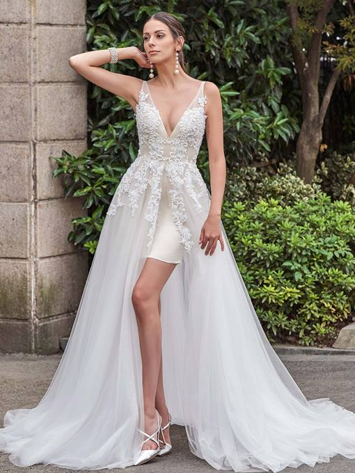 Ericdress V Neck Appliques Beach Wedding Dress