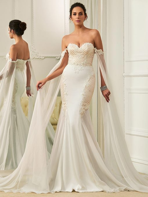 Ericdress Off the Shoulder Beaded Lace Mermaid Wedding Dress