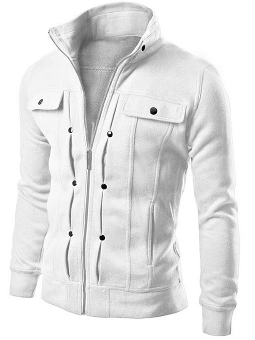Ericdress Solid Color Zipper Slim Stand Collar Men's Jacket