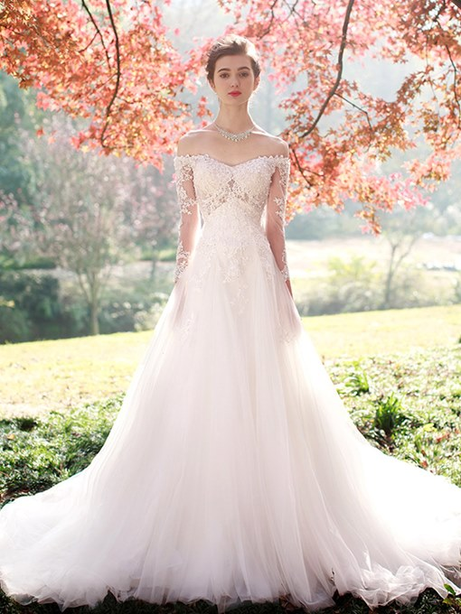 Ericdress Appliques Off The Shoulder Long Sleeves Wedding Dress