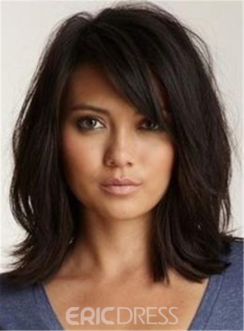 Ericdress Loose Messy Lob Medium Wave Synthetic Hair With Bangs Capless Wigs 14 Inches 12792431
