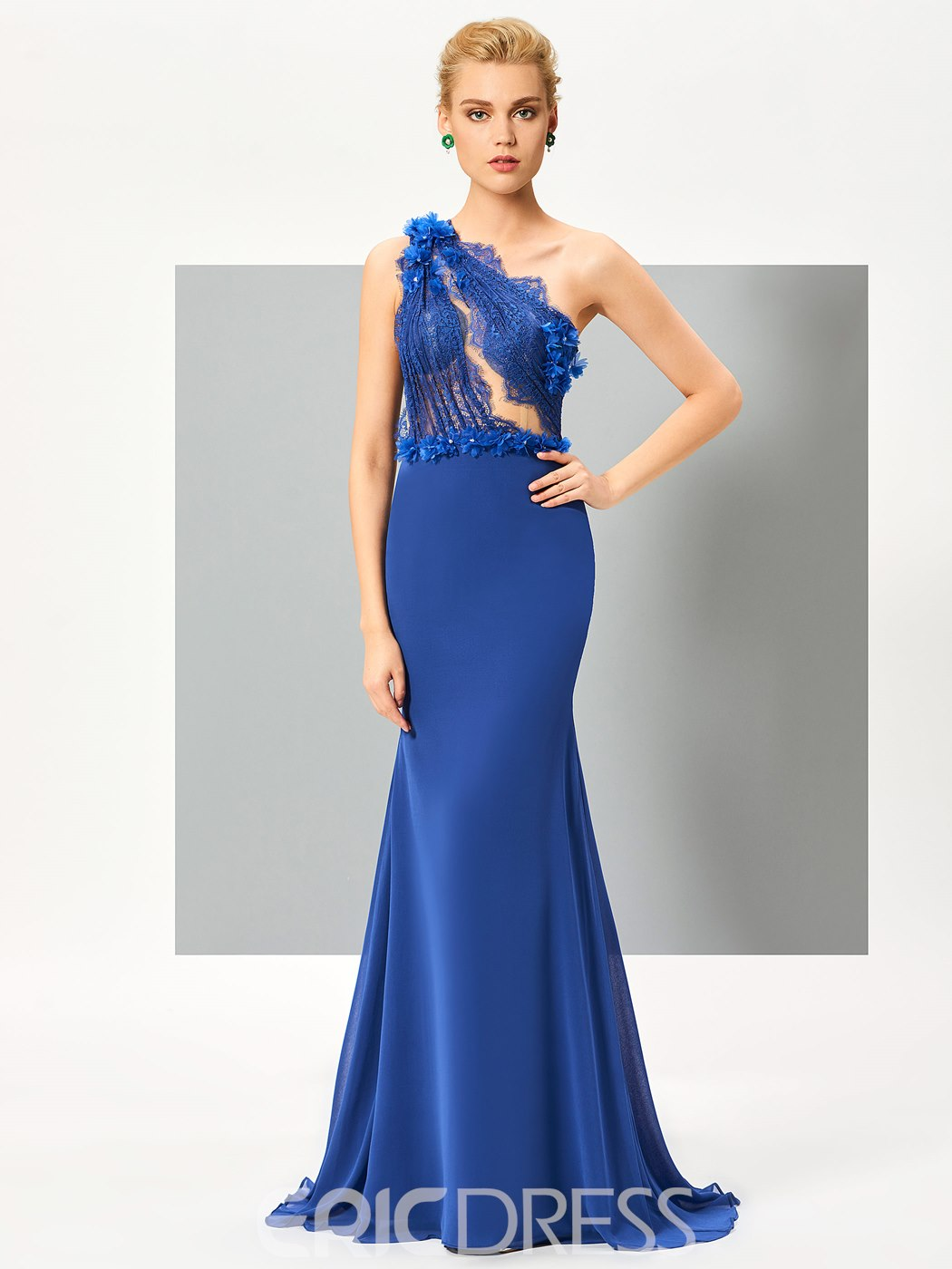 Ericdress Sexy One Shoulder Lace Applique Mermaid Evening Dress