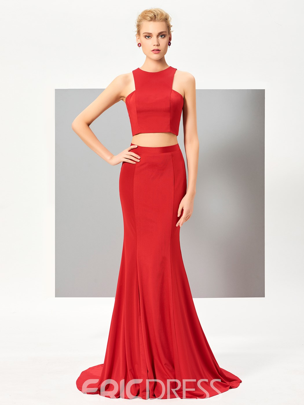 Ericdress Chic Two Pieces Zipper-Up Back Mermaid Evening Dress With Court Train
