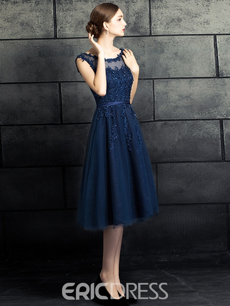 Ericdress A Line Appliuqe Lace Knee Length Prom Dress