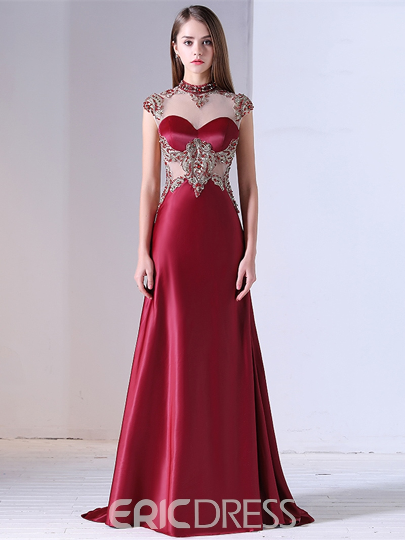 Ericdress Vintage High Neck Cap Sleeve Beaded Mermaid Evening Dress With Sweep Train