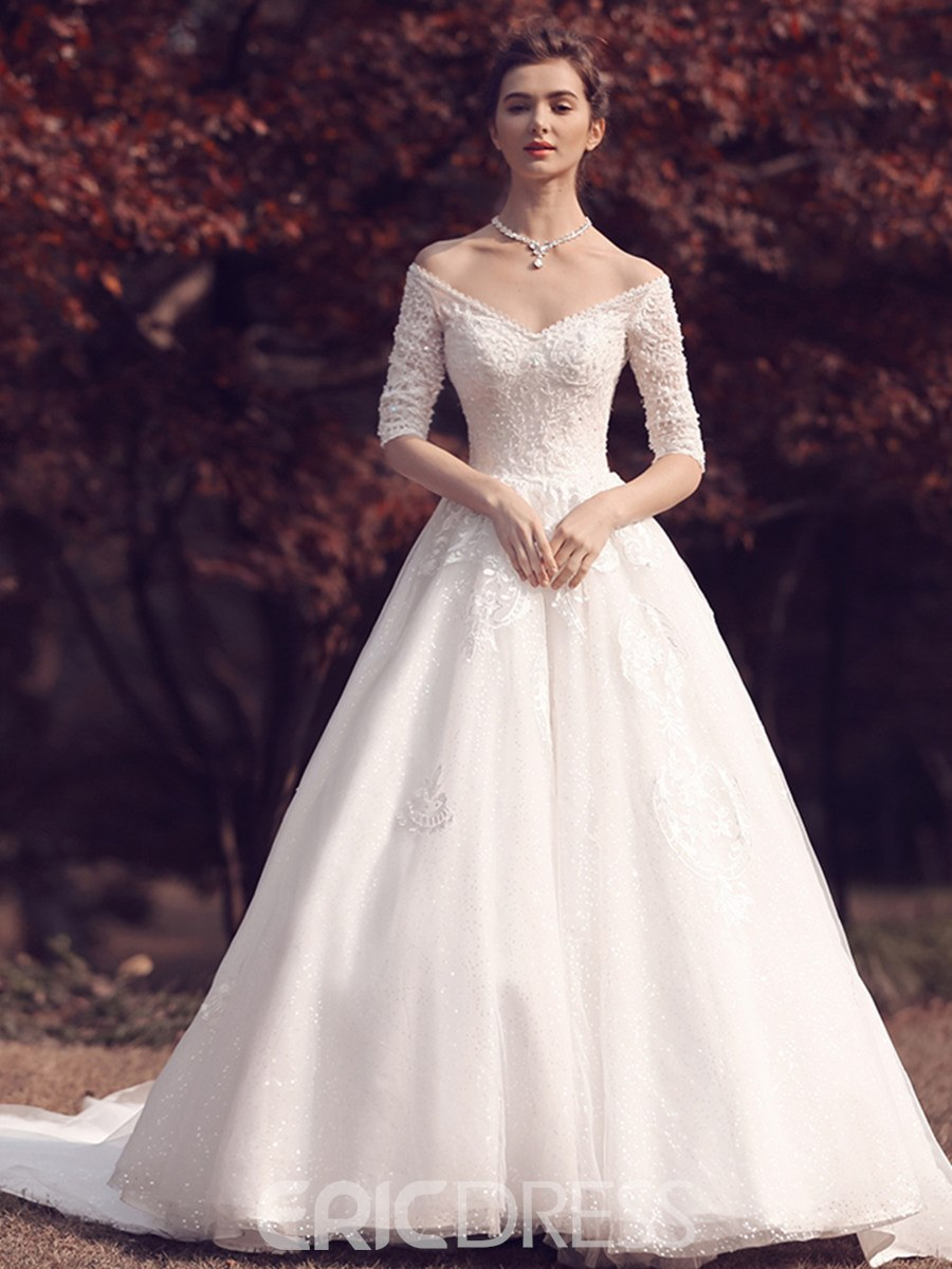 Ericdress V Neck Beaded Half Sleeves Wedding Dress