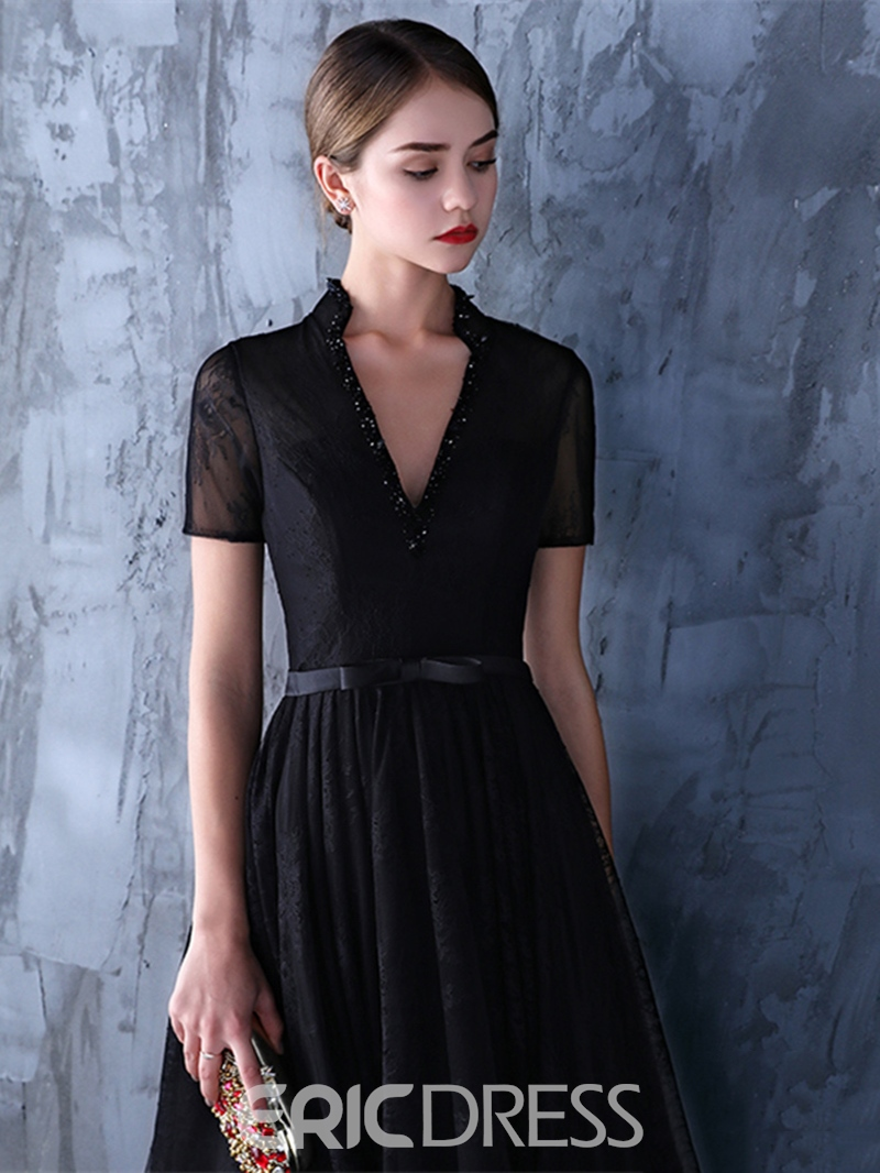 Ericdress A-Line V-Neck Short Sleeves Beading Lace Sashes Long Evening Dress