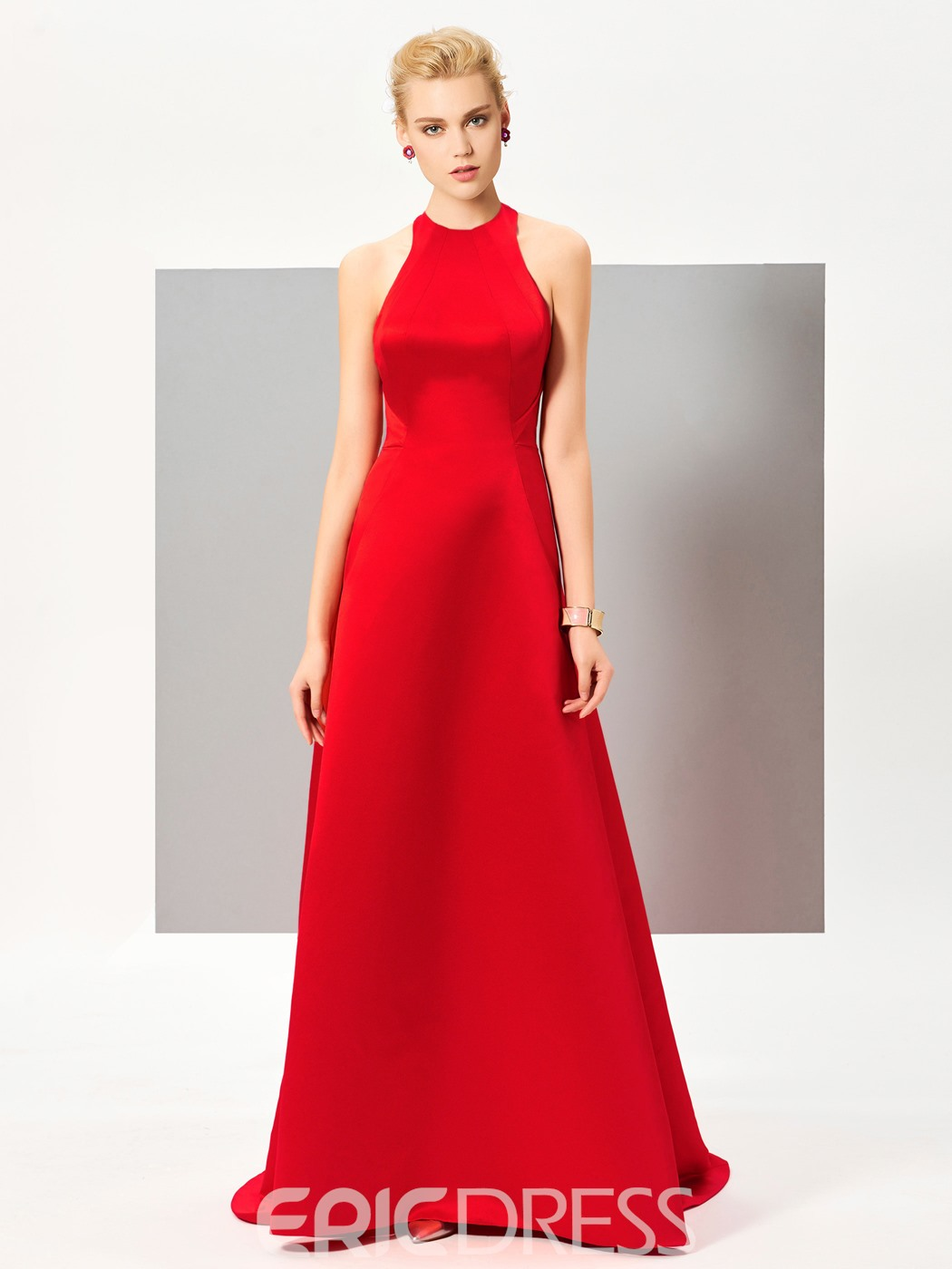 Ericdress A Line Jewel Neck Backless Sweep Train Evening Dress