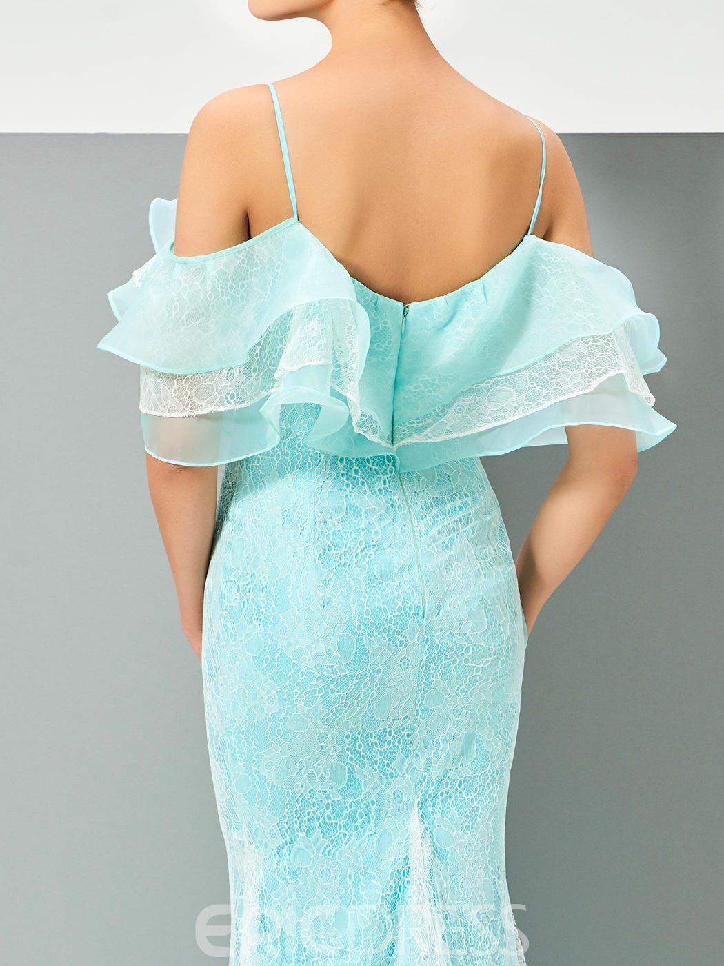 Ericdress Princess Spaghetti Straps Ruffles Lace Mermaid Evening Dress