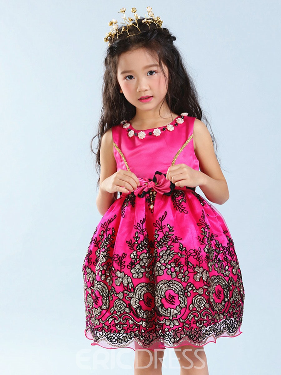 Ericdress Floral Embroidery Sleeveless Princess Girls Dress