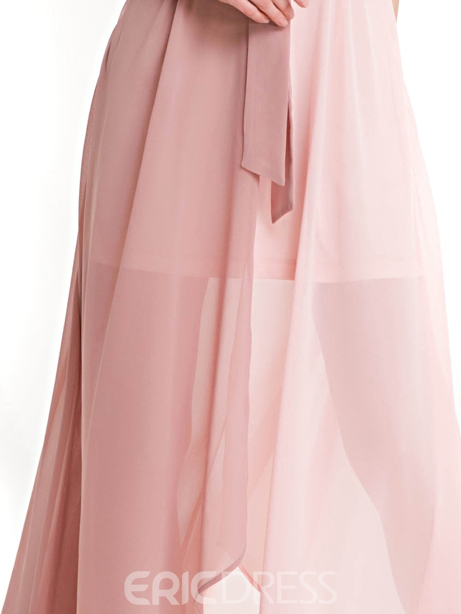 Ericdress Color Block Asymmetrical Lace-Up Maxi Dress