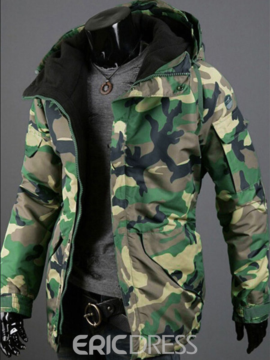 Ericdress Thicken Hooded Camouflage Warm Men's Coat