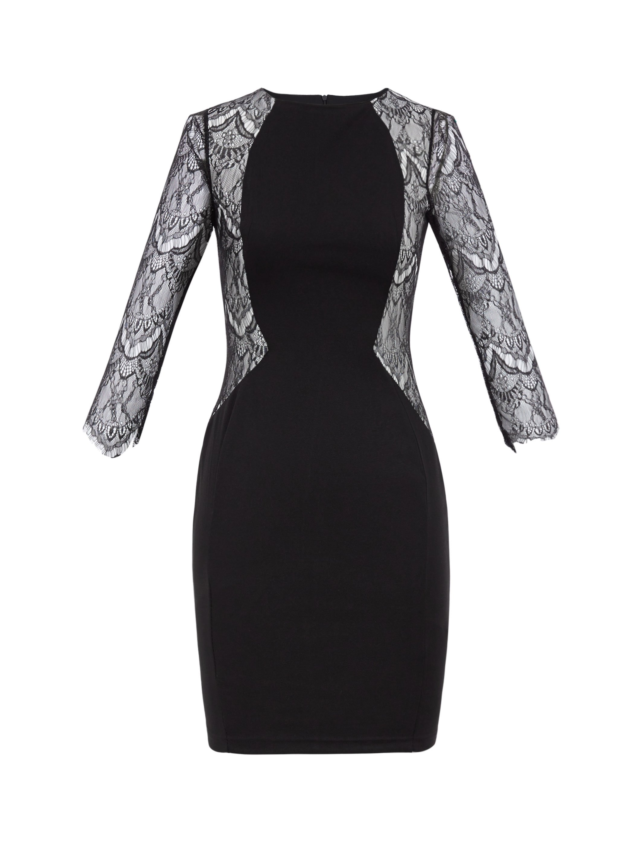 Ericdress Lace Patchwork See-Through Round Collar Sheath Dress