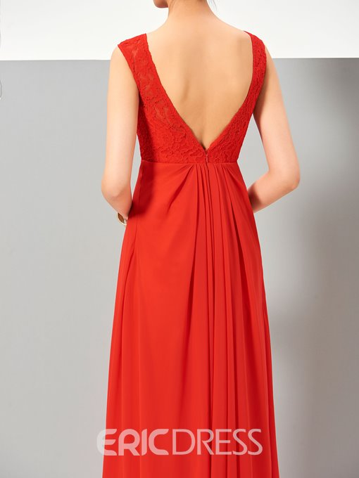 Ericdress Simple A Line Sleeveless Chiffon Ankle Length Evening Dress