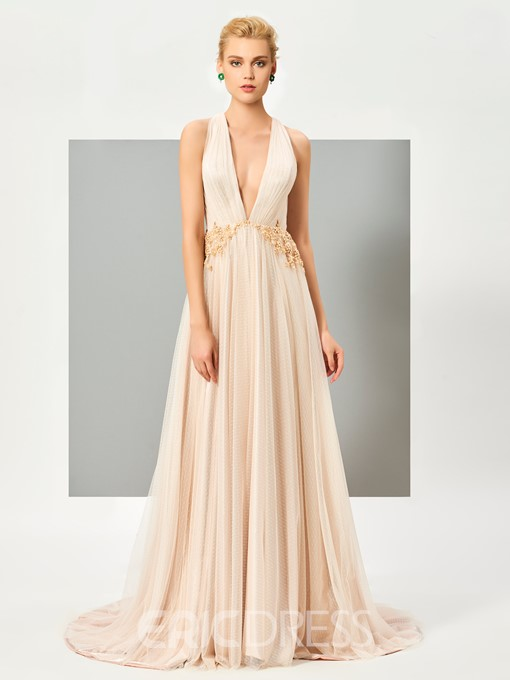 Ericdress Sexy Deep Neck Lace Applique Long Evening Dress With Beadings