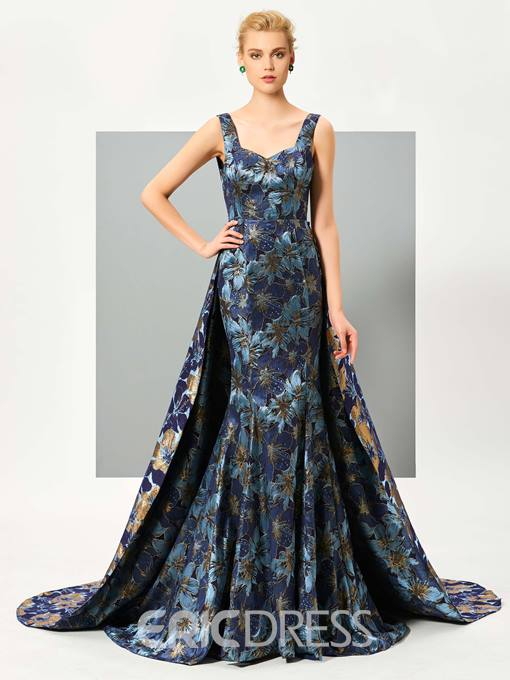 Ericdress Graceful Straps Print Floor Length Mermaid Evening Dress With Train