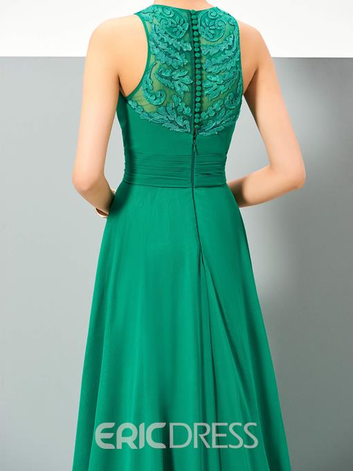 Ericdress A Line Lace Applique Button Back Sweep Train Long Evening Dress