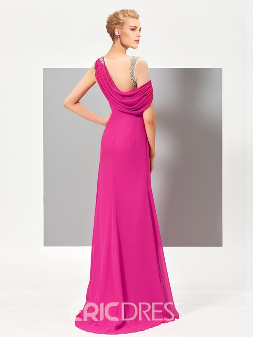 Ericdress A Line Beaded One Shoulder Evening Dress In Floor Length
