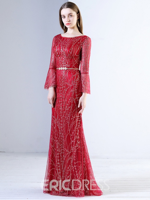 Ericdress Sheath A-Line 3/4 Sleeve Beaded Evening Dress In Floor-Length