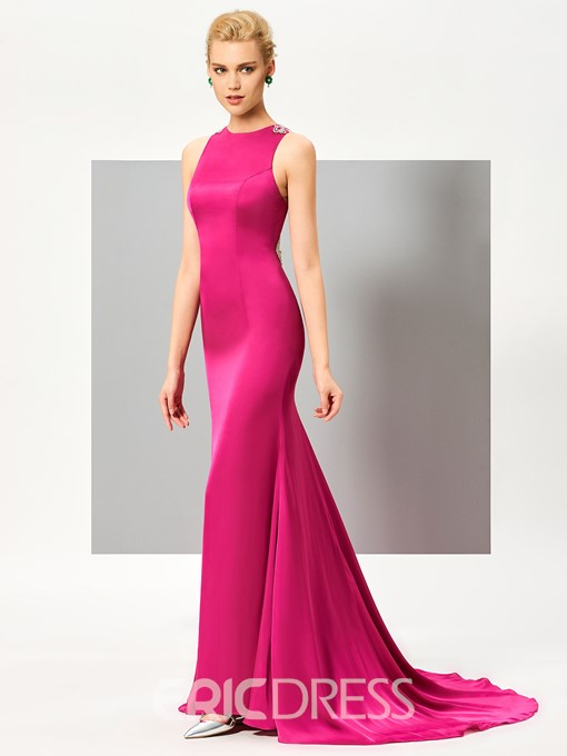 Ericdress Delicate Jewel Neck Crystal Beaded Back Mermaid Evening Dress With Sweep Train