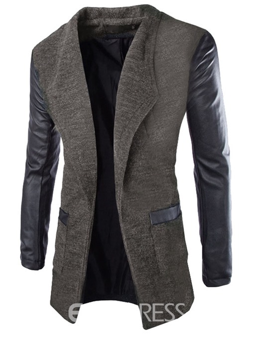 Ericdress PU Patchwork Slimming Cardigan Men's Trench Coat