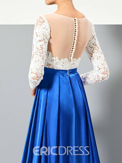 Ericdress A Line 3/4 Sleeve Lace Sweep Train Evening Dress