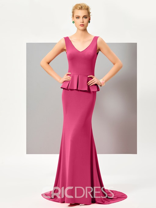 Ericdress Mermaid V Neck Sleeveless Deep Back Zipper-Up Evening Dress